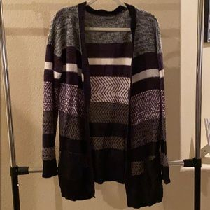 Purple and black striped cardigan